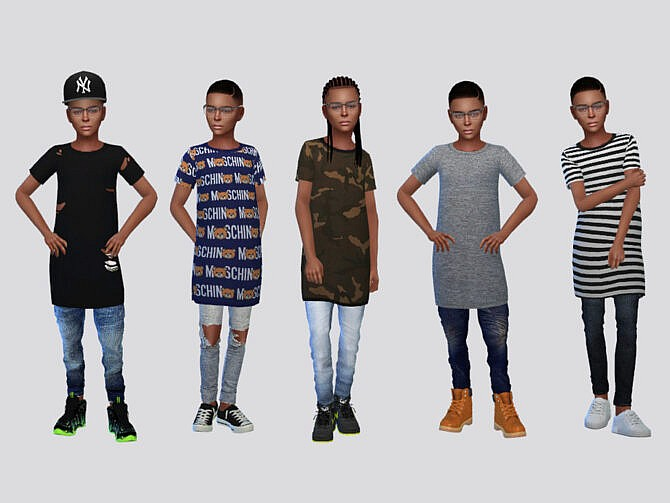 Sims 4 Thrift Long Tees Boys by McLayneSims at TSR