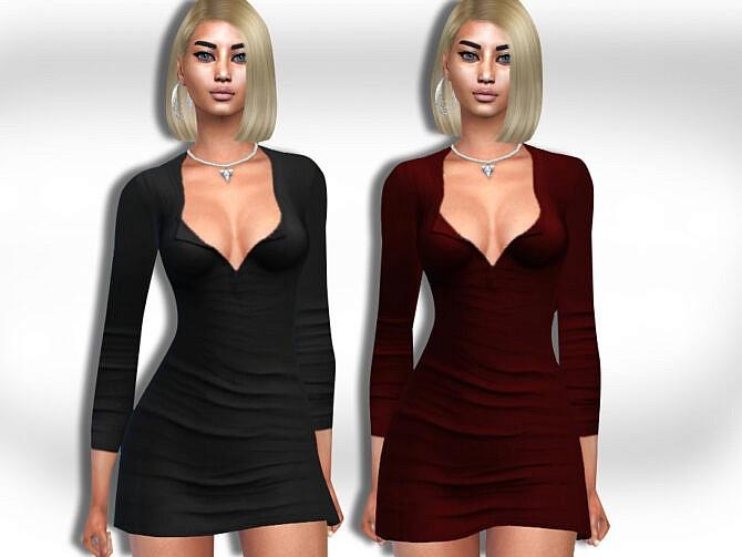Sims 4 Open Button Dress by Saliwa at TSR