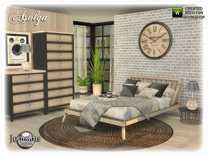Sims 4 Asolga bedroom by jomsims at TSR