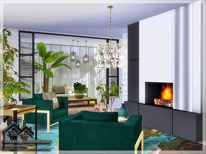 Sims 4 MARCEL Living Room by marychabb at TSR
