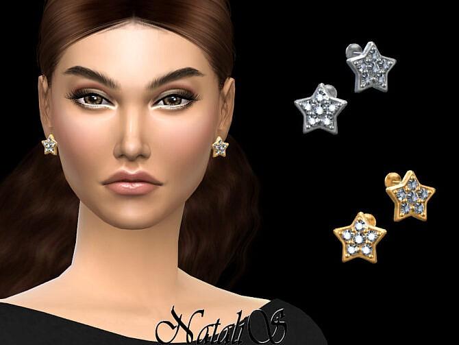 Sims 4 Star stud diamond earrings by NataliS at TSR