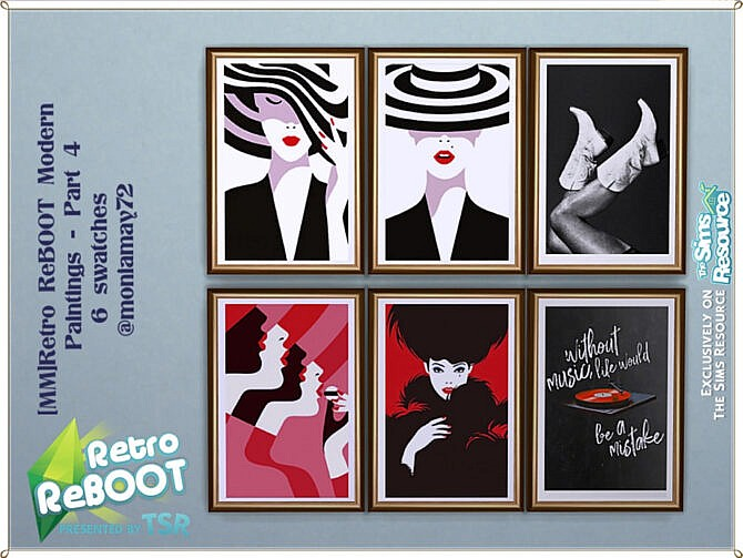 Sims 4 Retro Modern Paintings Part 4 by Moniamay72 at TSR
