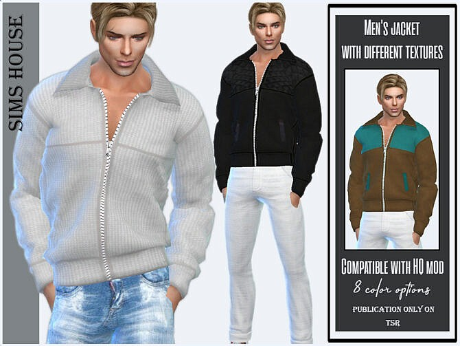 Sims 4 Mens jacket with different textures by Sims House at TSR