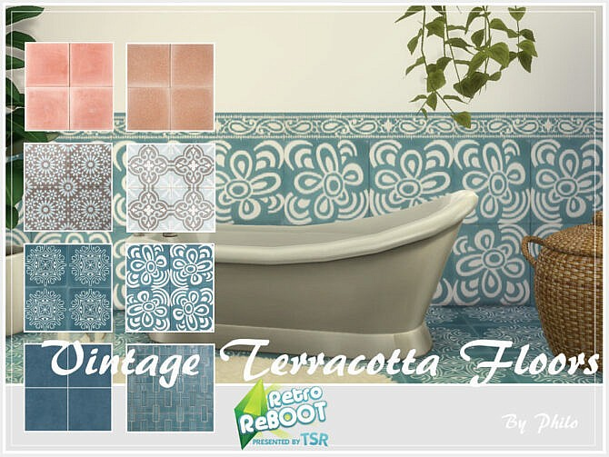 Sims 4 Retro Vintage Terracotta Floors by philo at TSR