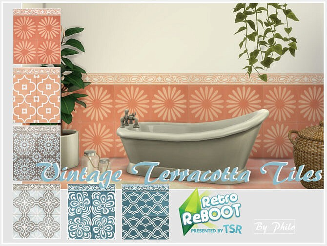 Sims 4 Retro Vintage Terracotta Tiles by philo at TSR