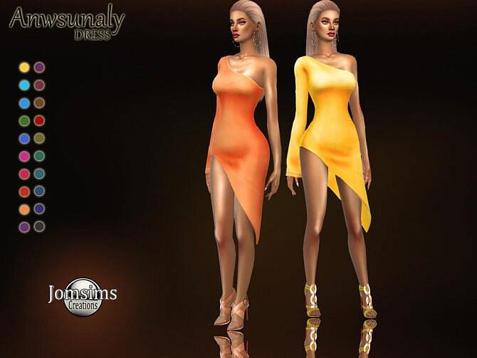 Sims 4 Anwsunaly dress by jomsims at TSR
