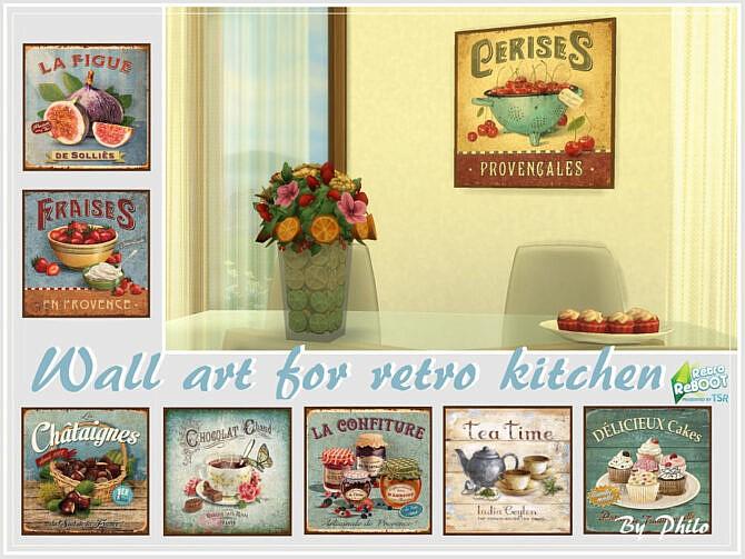 Sims 4 Retro Wall Art for Retro Kitchen by philo at TSR