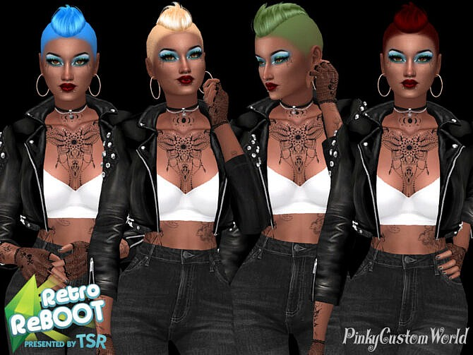 Sims 4 Retro Recolor of Nightcrawlers Strong hair by PinkyCustomWorld at TSR