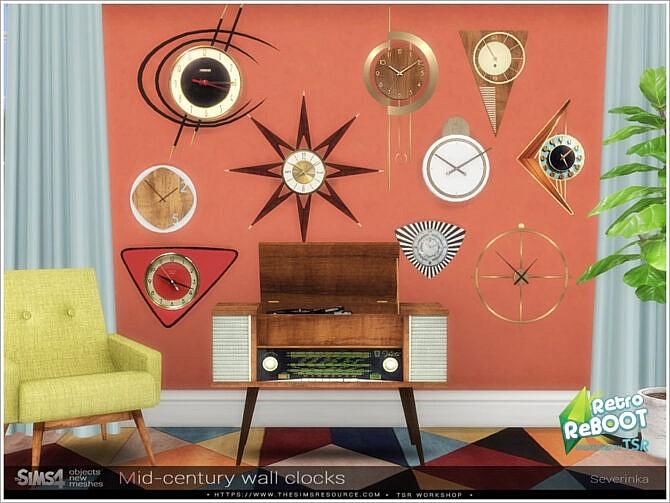 Sims 4 Mid century wall clocks by Severinka at TSR