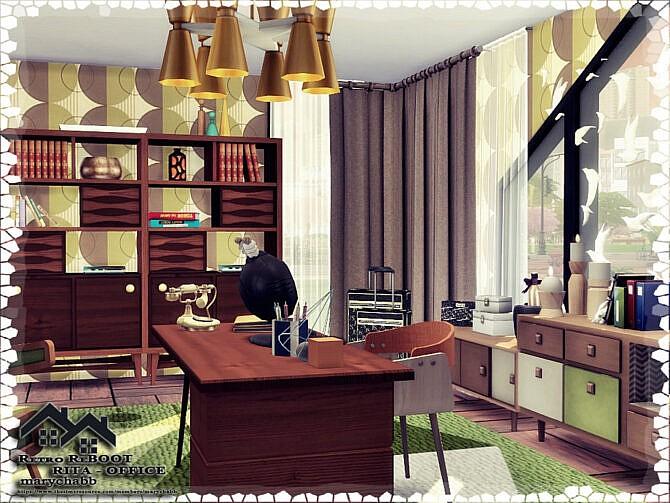 Sims 4 Retro RITA Office by marychabb at TSR