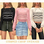 Striped Crop Sweater By Black Lily