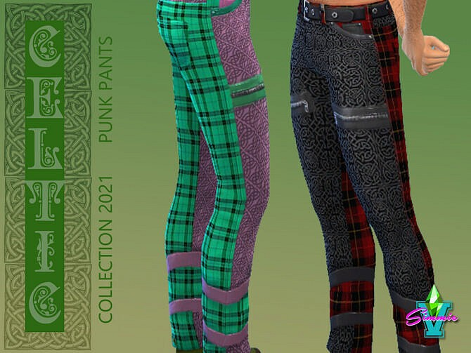 Sims 4 Celtic Punk Pants by SimmieV at TSR