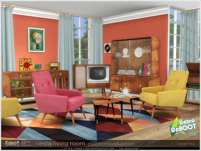 Sims 4 Vesta livingroom electronics / decor by Severinka at TSR