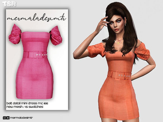 Sims 4 Belt Detail Mini Dress MC166 by mermaladesimtr at TSR
