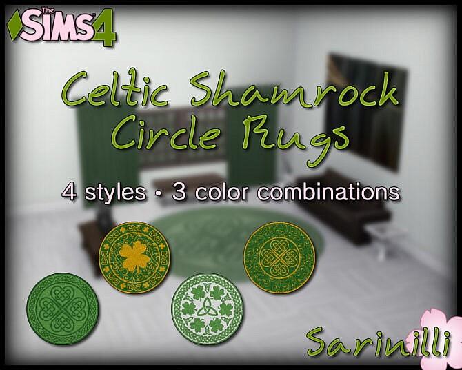 Sims 4 Celtic Shamrock Circle Rugs by Sarinilli at Mod The Sims 4