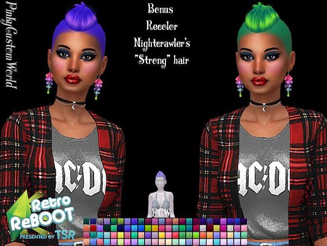 Sims 4 Retro Bonus recolor of Nightcrawlers Strong hair by PinkyCustomWorld at TSR