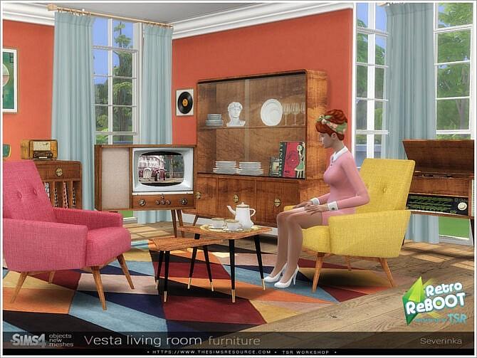Sims 4 Vesta livingroom furniture by Severinka at TSR