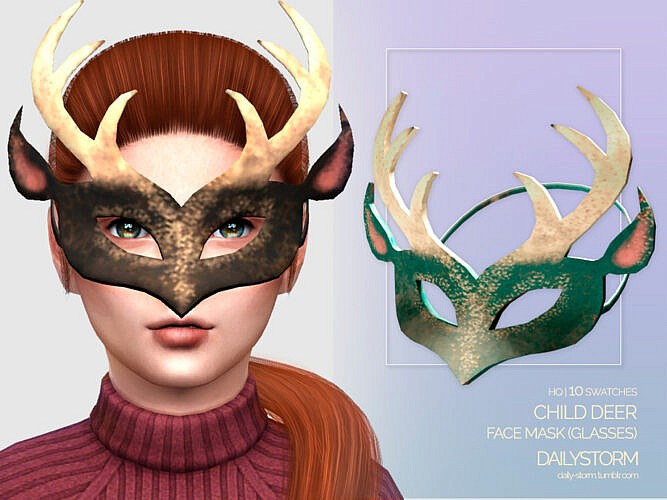 Deer Horns Face Mask For Kids By Dailystorm