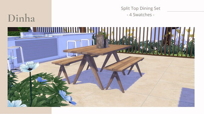 Sims 4 Split Top Dining Set at Dinha Gamer