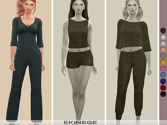 Sims 4 V Neck Sweater Top Set 24 1 by ekinege at TSR
