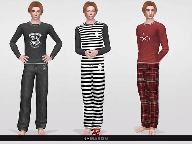 Sims 4 Harry Potter PJ Pants 01 M by ReMaron at TSR