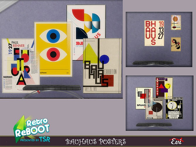 Sims 4 Retro Bauhaus posters by evi at TSR