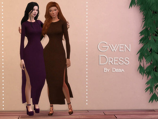Sims 4 Gwen Dress by Dissia at TSR