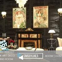 Retro Dark Art Deco Living Room By Simsbylinea