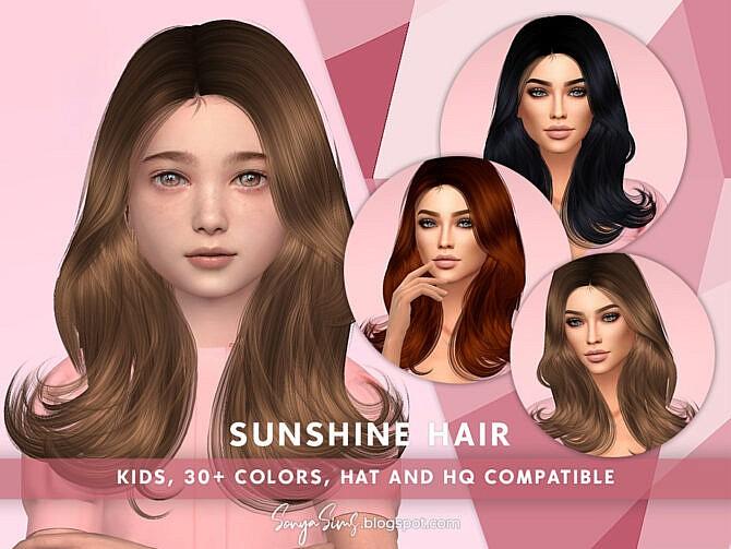 Sims 4 Sunshine Hair KIDS by SonyaSimsCC at TSR