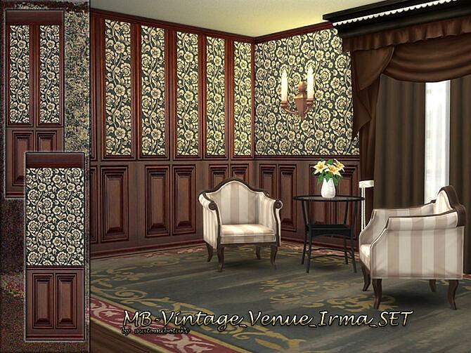 Sims 4 Vintage Venue Irma wooden paneling wallpaper by matomibotaki at TSR