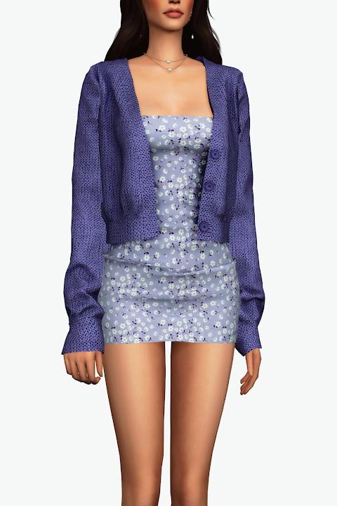 Sims 4 Mini Dress & Cardigan at Gorilla