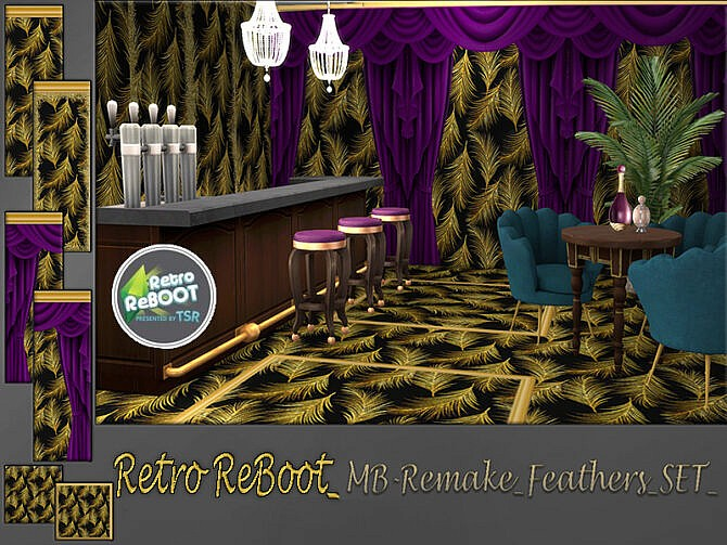 Sims 4 Retro MB Remake Feathers SET by matomibotaki at TSR