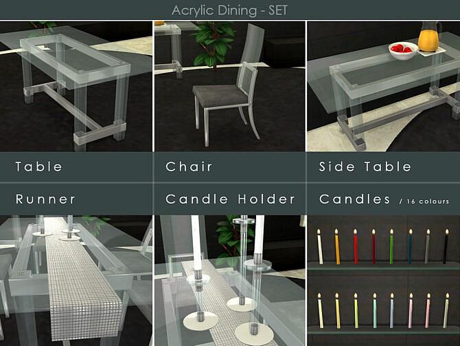 Sims 4 Acrylic Dining Set by TyrAVB at TSR