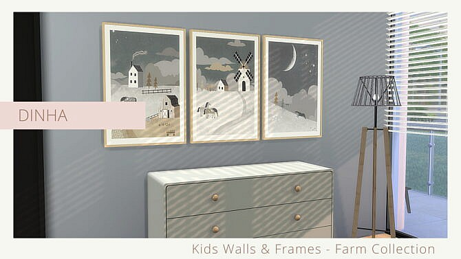 Sims 4 Kids Walls & Frames Farm Collection at Dinha Gamer