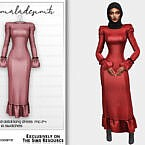 Shoulder Pad Detail Long Dress Mc174 By Mermaladesimtr