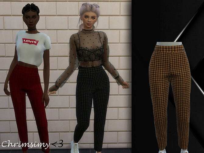 Sims 4 Plaid Pants by chrimsimy at TSR