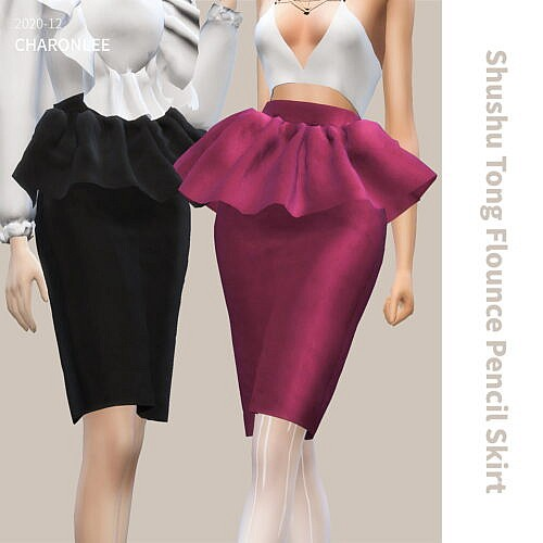 Shushu Tong Flounce Pencil Skirt
