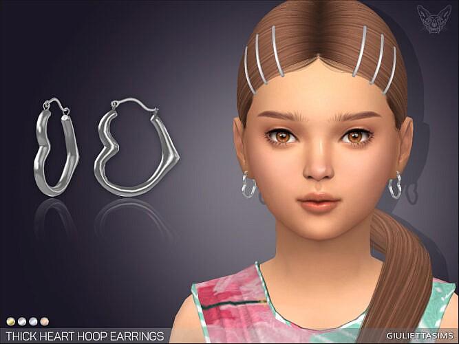 Thick Heart Hoop Earrings For Kids By Feyona