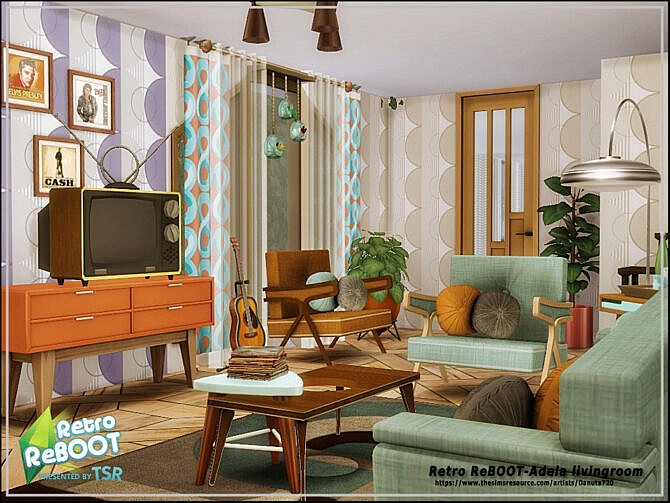Sims 4 Retro Adela livingroom by Danuta720 at TSR