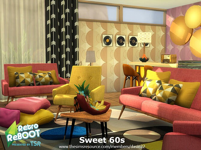 Sims 4 Retro Sweet 60s Living Room by dasie2 at TSR