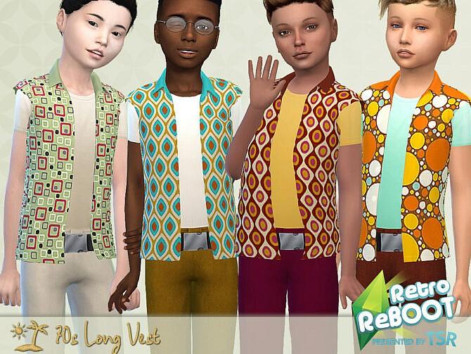 Sims 4 Retro 70s Long Vest by Pelineldis at TSR