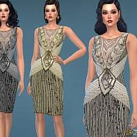 Retro 1930s Beaded Sequin Evening Dress By Harmonia