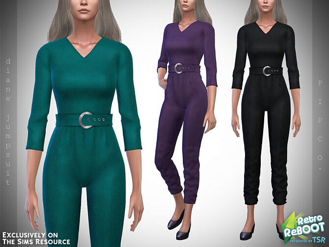 Sims 4 Retro Diane Jumpsuit by Pipco at TSR