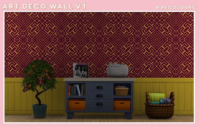 Sims 4 Art Deco Wall V1 at Midnightskysims