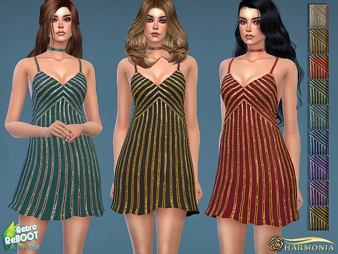 Sims 4 Retro 70s Sequin Embellished Disco Dress by Harmonia at TSR
