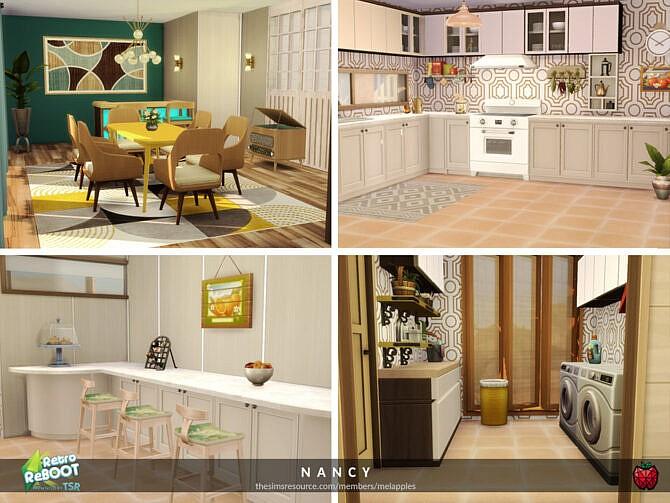 Sims 4 Retro Nancy House by melapples at TSR