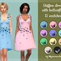 Chiffon Dress With Butterflies By Mysteriousoo