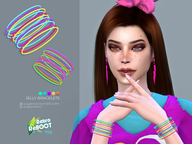 Sims 4 Retro Jelly bracelets by sugar owl at TSR