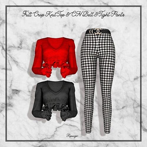 Frill Crop Knit Top & Ch Belt & Tight Pants