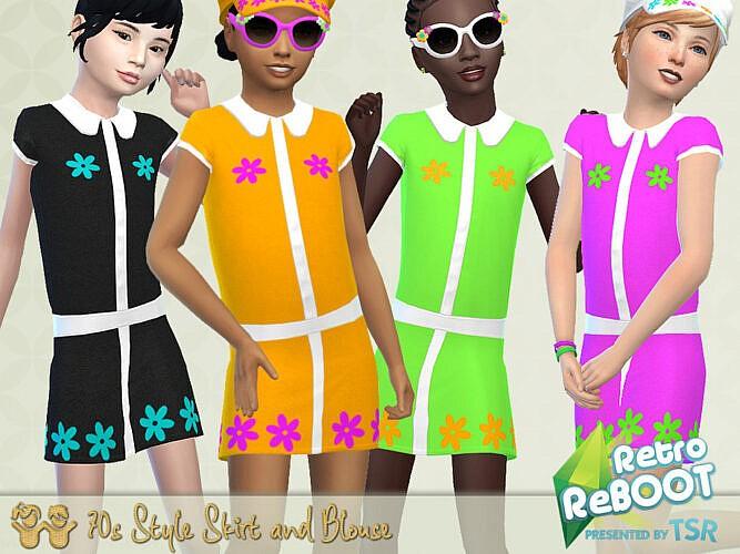 Retro 70s Skirt And Blouse Set By Pelineldis